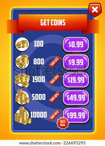 Game UI. Interface design. Virtual currency Bank. Vector eps 10. - stock vector