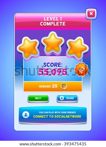 Game UI. Level complete screen. Creative concept vector interface game design.