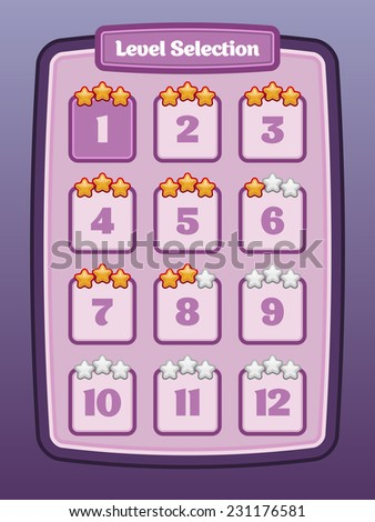 Game UI. Level select. Vector eps 10. - stock vector