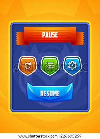 Game UI. Pause Menu. Vector eps 10. - stock vector