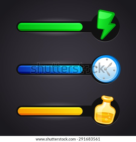 Game vector icons and resource bar set - stock vector