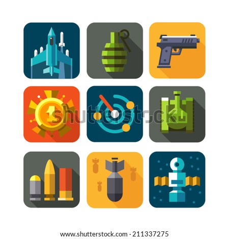 Game war strategy. Weapon. Color vector flat icon set: pomegranate, gun, ammunition, aircraft, satellite, radar, missile, tank - stock vector
