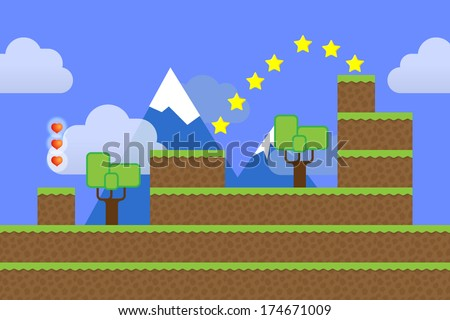 Game world. Computer game screen - stock vector