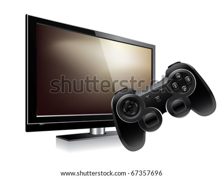 Gamepad and lcd television - stock vector