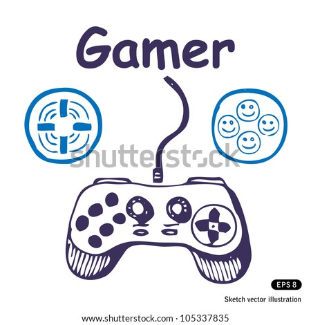 Gamepad and multiply icons. Hand drawn sketch illustration isolated on white background - stock vector