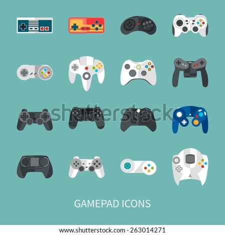 gamepad icon set. flat style vector illustration - stock vector