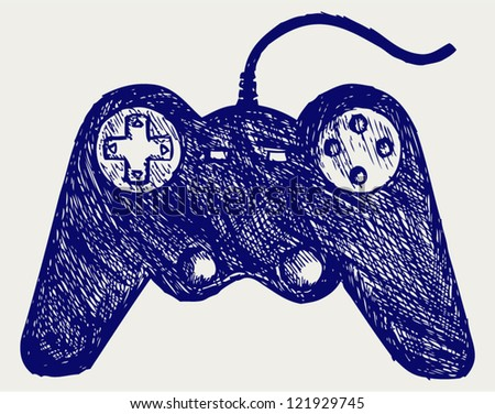 Gamepad joystick game controller. Doodle style - stock vector