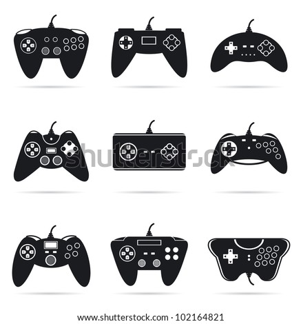 Gamepads silhouettes. Collections of icons silhouettes for different game consoles, controllers and joysticks. - stock vector