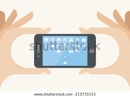 Gamer hand holding mobile phone with online arcade game on screen. Idea - Gamers and mobile online games, Cybersport and gaming championships, Mobile games industry etc. - stock vector