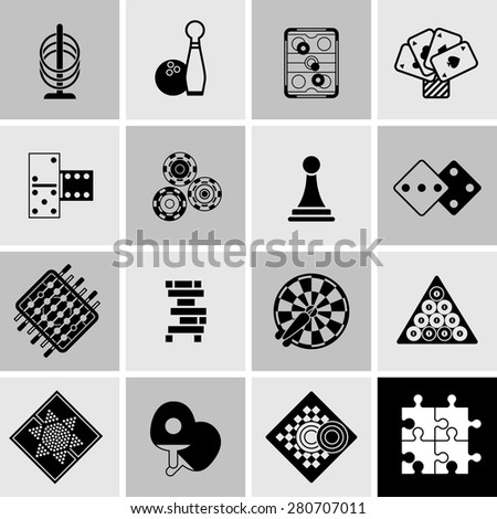 Games black icons set with cards dice table football isolated vector illustration - stock vector