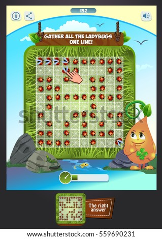 Games collection.  Visual Game for children. Task: gather all the ladybugs one line! Match 3 game items