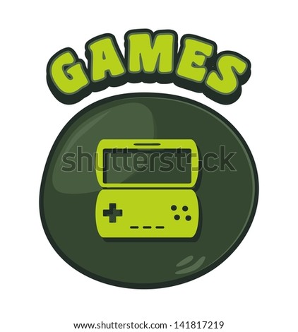 games console cartoon button five - stock vector
