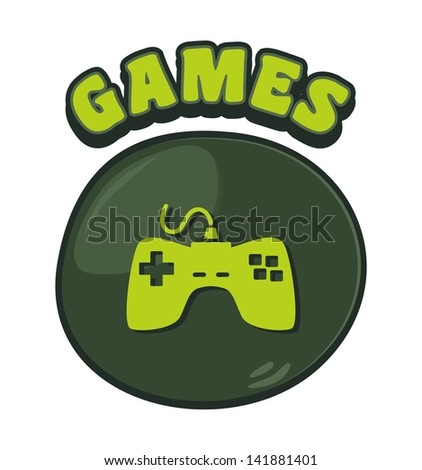 games console cartoon button three - stock vector