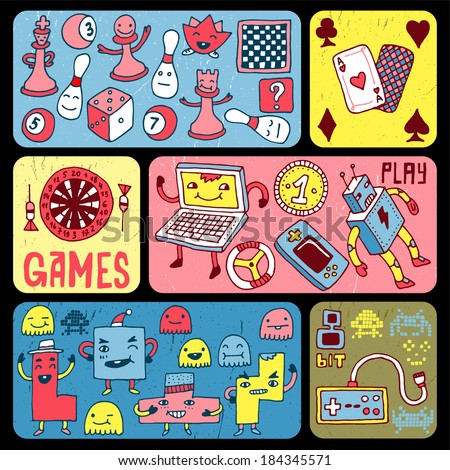 Games doodle banners. Vector illustration. - stock vector