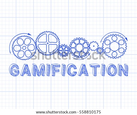 Gamification text with gear wheels hand drawn on graph paper background