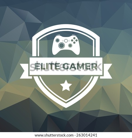gaming badge on trendy triangle background - stock vector