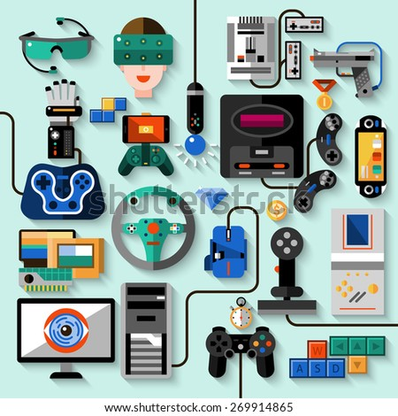 Gaming gadgets computer play technologies icons set isolated vector illustration - stock vector