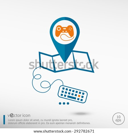Gaming joystick icon and pin on the map. Line icons for application development, creative process. 