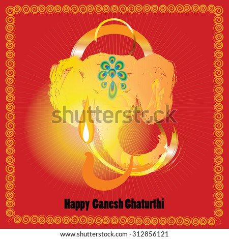 Ganesh Chaturthi - red greeting card for indian festival Vinayaka Chaturthi. Gold elephant head and fire on oil lamp vector illustration. Lord Ganesha - hindu god of luck and and prosperity.  - stock vector