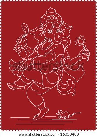 Ganesh (Elephant God) - stock vector
