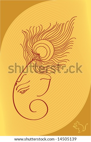 Ganesh wearing Peacock feather crown (it can be used as Wedding Card design) - stock vector
