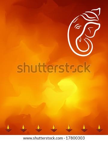 Ganesha and diya festival abstract background - stock vector
