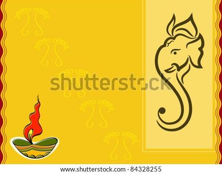 Ganesha Diwali Greeting - stock vector