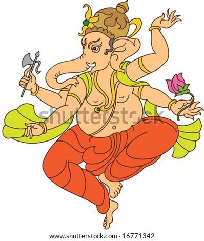 Ganesha (Elephant God) - stock vector