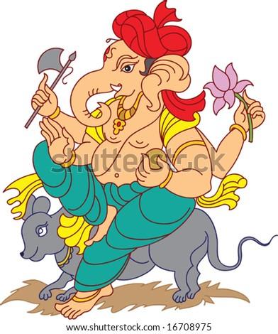 Ganesha (Elephant God) with Turban - stock vector