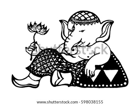 Ganesha god of success and art, Elephant drawing, vector illustration design hand drawn