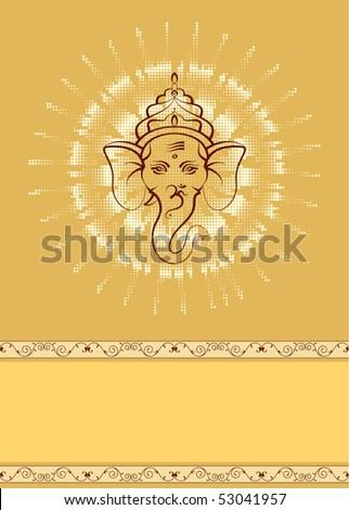 Ganesha Greeting Card - stock vector