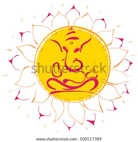 Ganesha lotus icon - stock vector