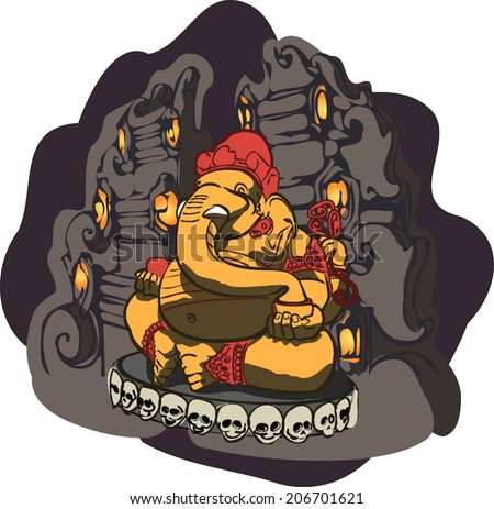 Ganesha - most famous and worshiped elephant headed god in the Hindu pantheon. Vector illustration. - stock vector