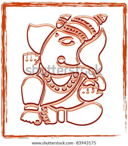 Ganesha Sketch (Vector) - stock vector
