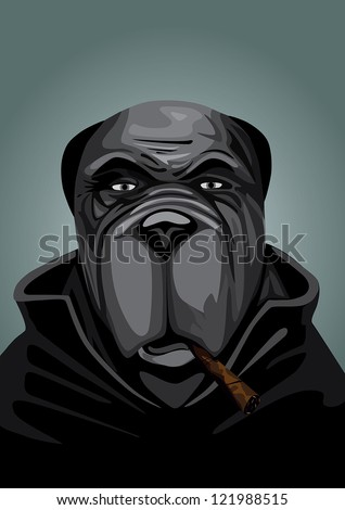 Gangster Dog portrait - stock vector