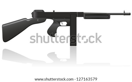 gangster gun Thompson vector illustration isolated on white background - stock vector