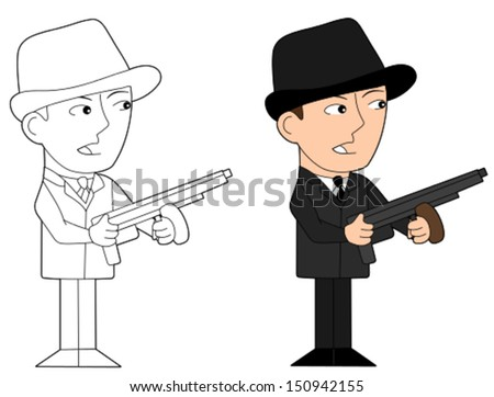 Gangster holding a tommy gun, cartoon / illustration isolated on a white background - stock vector