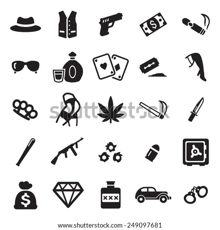 Gangster Icons  - stock vector
