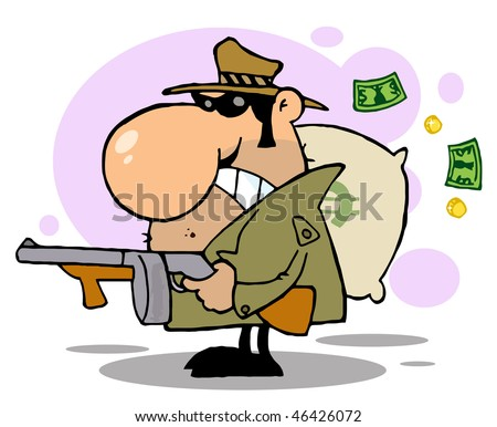Gangster Man with his Gun and Bag of Money,background - stock vector