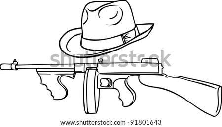 gangster set - automatic Thompson and Theodore hat - stock vector