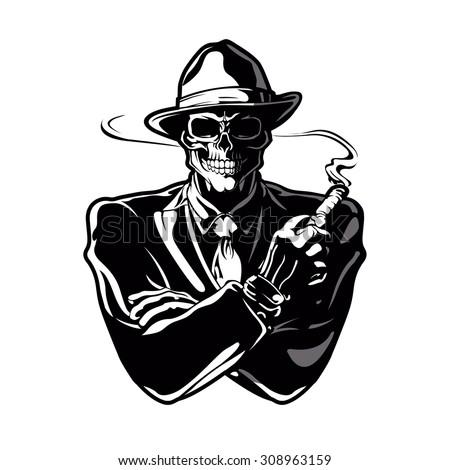 gangster skull.Vector Design EPS 10 - stock vector