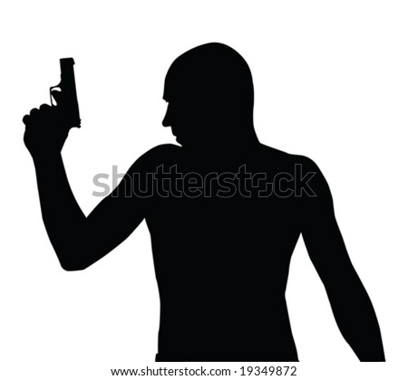 Gangster vector silhouette with gun isolated