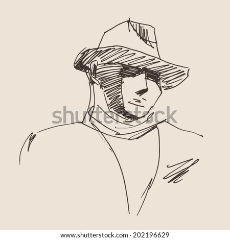 gangster vintage illustration, engraved retro style, hand drawn, sketch - stock vector