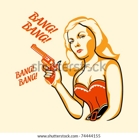 Gangster woman in retro three color print halftone pattern - stock vector