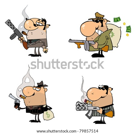 Gangsters Cartoon Characters-Vector Collection - stock vector