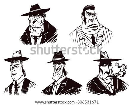 Gangsters set, vector - stock vector