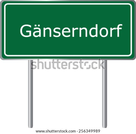 Ganserndorf, Austria, road sign green vector illustration, road table - stock vector