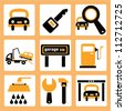 garage and car service - stock vector