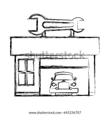 Garage Door Mechanic Stock Vector 645236707 Shutterstock