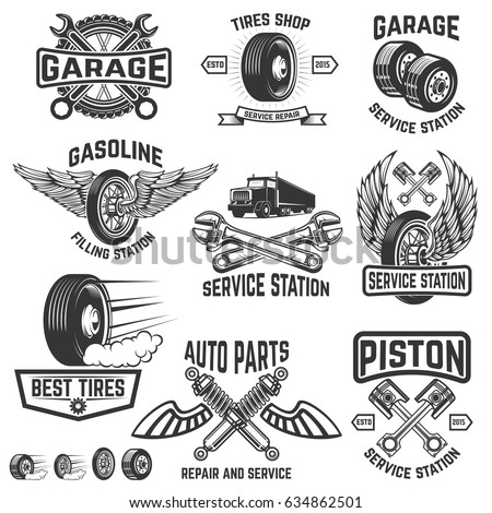 Garage Service Station Auto Parts Store Filling Badges Design Element For